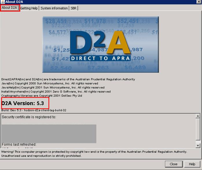 Screenshot with the 'About D2A' tab on the top left hand corner highlighted and the D2A version number highlighted